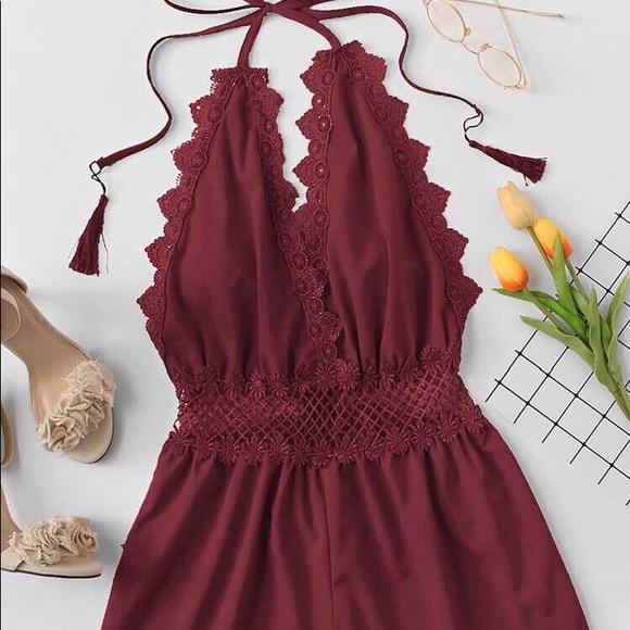 Red Shein lace romper
